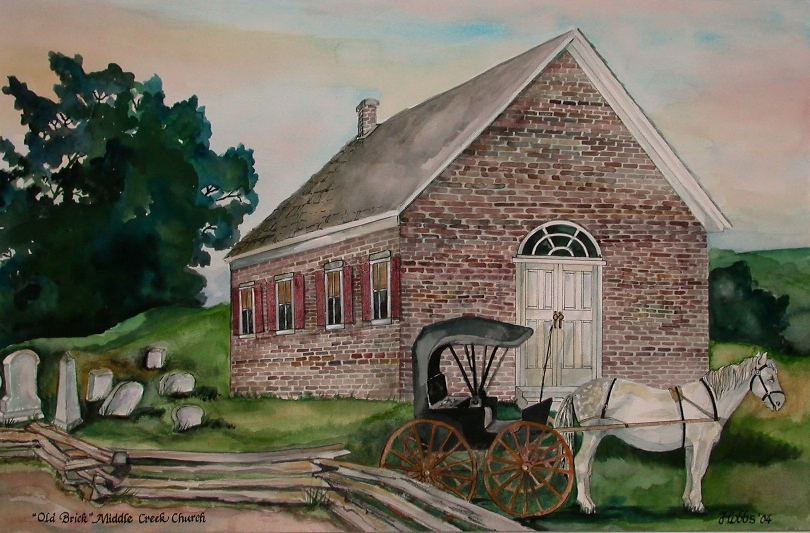 Painting of Old Brick Middle Creek Church, by Pat Hobbs